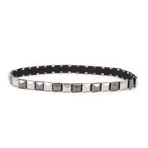 BCBG Metallic Silver Gray Studded Stretch Belt